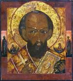 Икона Св. Николай Чудотворец (огрудный). Дерево, левкас, п
