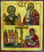 Икона четырёхчастная  Распятие - Св. Николай Огрудный, Бого