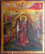 Икона Огненное вознесение Пророка Илии с житийными сценами