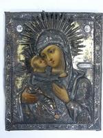 Владимирская Икона Божией Матери в окладе. Дерево, масло; ок