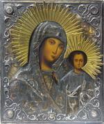 Казанская Икона Богородицы, в окладе. Дерево, масло; оклад -