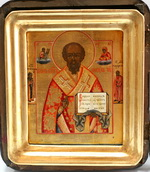 Икона в киоте Св. Николай Чудотворец. Дерево, левкас, суса
