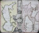 Гравированная карта Камчатки и Каспийского моря с  ручной ра