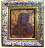 Икона Богородицы с младенцем. Доска, левкас, масло, золочен