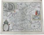 Карта России Tabula Russiae. Гравюра на меди, раскраска ак