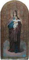 Икона иконостасная Богоматерь с младенцем. Дерево, паволока,