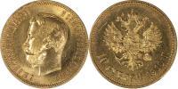 10 Рублей 1910 г. АГ-ЭБ. Гурт (Э*Б). Золото, 8,57 гр. Сост