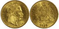 20 франков 1892. Золото, 6.5 гр. Состояние XF+.