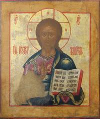 Икона Господь Вседержительиз Деисусного чина. Дерево, левк
