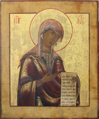 Икона Богоматерь Деисусная. Дерево, левкас, темпера 45Х38.