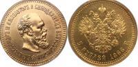 5 рублей 1888 года, АГ-АГ. Золото, 6,45 г. Сохранность отлич