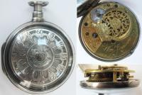 Карманные двухкрышечные часы в серебряном футляре французско
