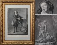 Франсуа де Троя (1645 - 1730)Старинная гравюра Портрет акте