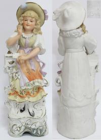Статуэтка Девушка с письмом. Фарфор, лепка, роспись, золоч