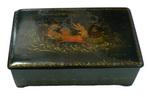 Шкатулка Пушкин на санях: папье-маше, разделка красками, з