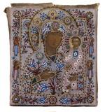 Грузинская икона Богородицы  в бисерном окладе. Дерево (липа
