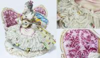 Статуэтка Девушка с мандолиной. Фарфор, лепка, роспись, зо