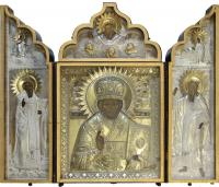 Икона складень Святой Николай Чудотворец с предстоящими Свят