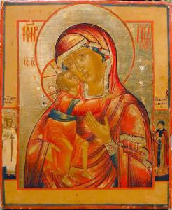 Икона в окладе «Богоматерь Федоровская» с приписной св. Ефросиньей и Ангелом-Хранителем.